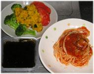 スパゲティナポリタン、かぼちゃサラダ、もずく酢