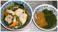 今夜は具だくさんスープと納豆・メカブのネバネバスペシャル