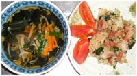 今夜は野菜たっぷりスープと、ベーコン・ほうれん草のチャーハン