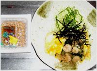 今夜は春雨・エビ入りオムレツのキャベツ添え&納豆