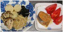 長芋と切り干し大根の炊き合わせ、サバ味噌煮、トマト