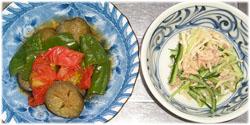今夜は夏野菜の煮物、切干大根・キュウリのツナサラダ