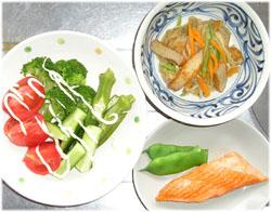 切干大根、鮭、サラダ
