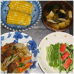 今夜はレバー野菜炒め、水菜サラダ、とうもろこし