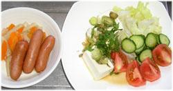 今夜はウインナー・大根・人参の煮物と豆腐サラダ