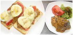 今夜は納豆チーズトーストとカレー味サバ缶、おひたし
