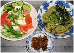 今夜は茶そうめん、豆腐サラダ、佃煮