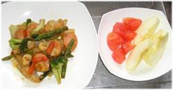 今夜は野菜炒めとトマト、りんご1個、ご飯は無しね 朝、梨を食べたから..(^^;