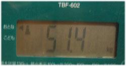 今日の体重51.4kg