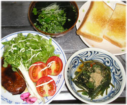 今夜はチキンハンバーグ、サラダ、空芯菜(くうしんさい)ごま和え、わかめスープ、トースト1枚。 チキンハンバーグも空芯菜も安かったの (^^;