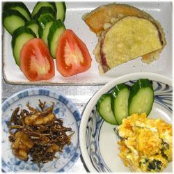 今夜は天ぷら、くるみとちりめんじゃこの佃煮、サラダ