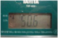 きょうの体重 50.6kg 今年一番少ないかな(^^)