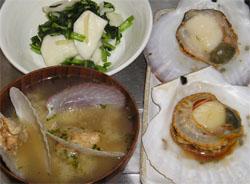 ホタテのバター焼きと味噌汁
