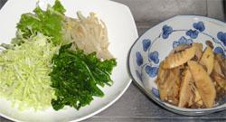 茹でた菜の花ともやしに、千切りキャベツとレタス、それに筍の煮物