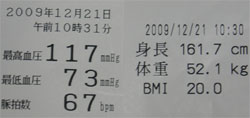 身長・体重・血圧のデータ