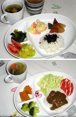 白い皿に盛った料理