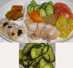 やわらかチャーシューと野菜サラダ