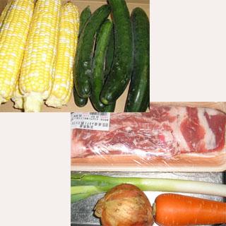頂いた野菜とチャーシューの材料